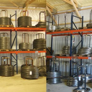 Wire Storage in the new 5000 sq.ft. warehouse.